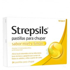 STREPSILS PASTILLAS PARA CHUPAR SABOR MIEL Y LIMÓN, 24 PASTILLAS