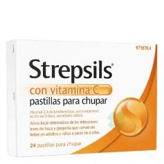 STREPSILS CON VITAMINA C PASTILLAS PARA CHUPAR, 24 PASTILLAS